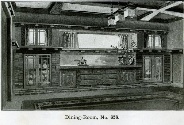 Arts And Crafts Dining Room: Arts And Crafts Dining Room Interior - 1910