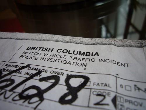 bc motor vehicle traffic incident report  1986