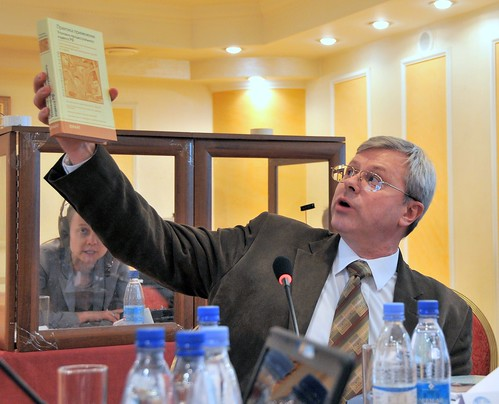 Nikita Kolokolov, Former Judge of the Supreme Court of the Russian Federation, discussing a scholarly reference, at ABA/ROLI Advocacy Seminar, Almaty, Kazakhstan, April 3, 2008 | by Ivan S. Abrams