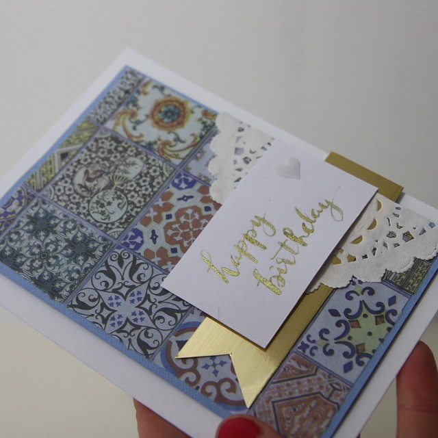 Birthday card by StickerKitten with Craft Consortium Moroccan tile Marrakesh decoupage papers