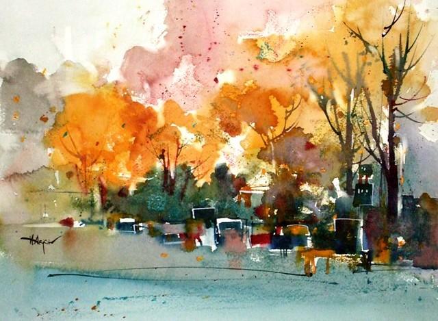 toronto neighborhood autumn 11x15 ins watercolor amp oil