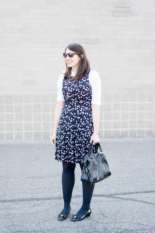 black cherry print dress Loft + white button down shirt + black tights + black Ferragamo shoes; work outfit | Style on Target blog