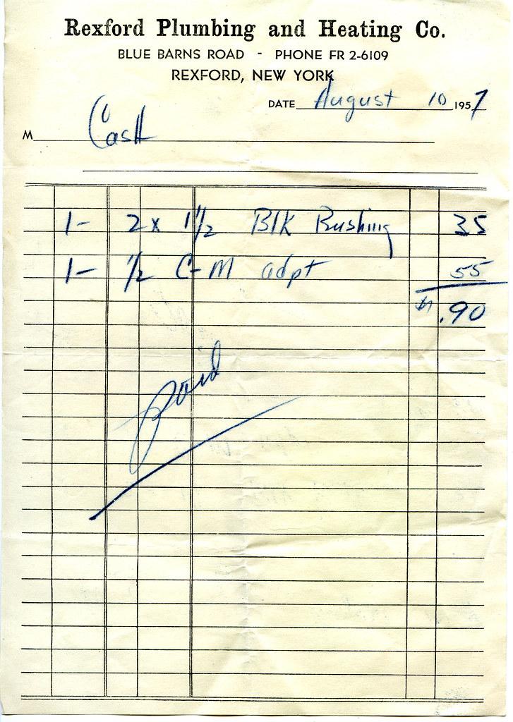Rexford Plumbing receipt Carl Johnson – Plumbing Receipt