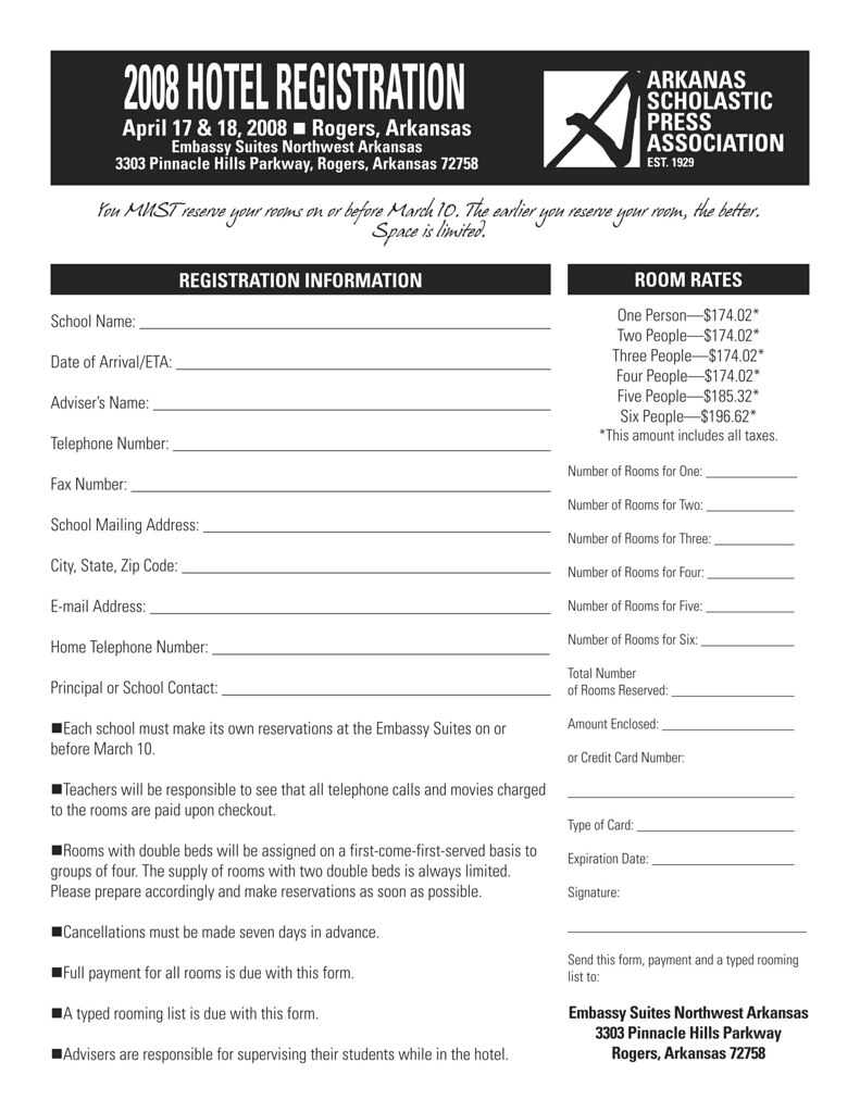 Convention hotel registration form hotel reservations must flickr convention hotel registration form by arkansas scholastic press association thecheapjerseys Gallery