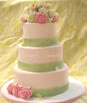 Yellow And Pink Wedding Cakes