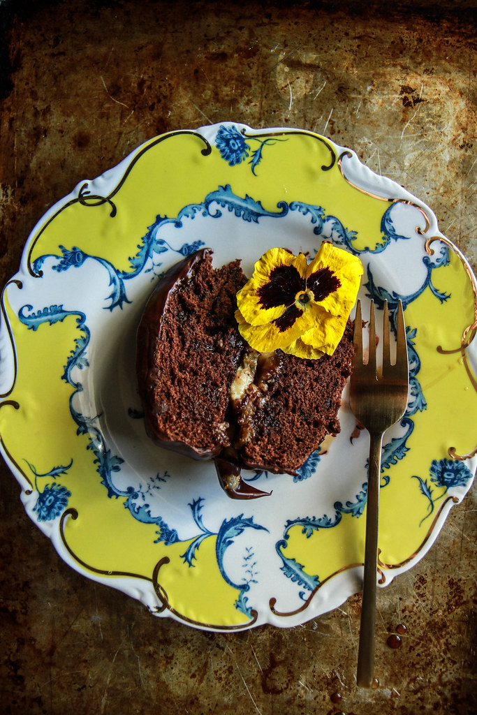 Chocolate Chip Caramelized Banana Cake- Vegan and Gluten Free from HeatherChristo.com