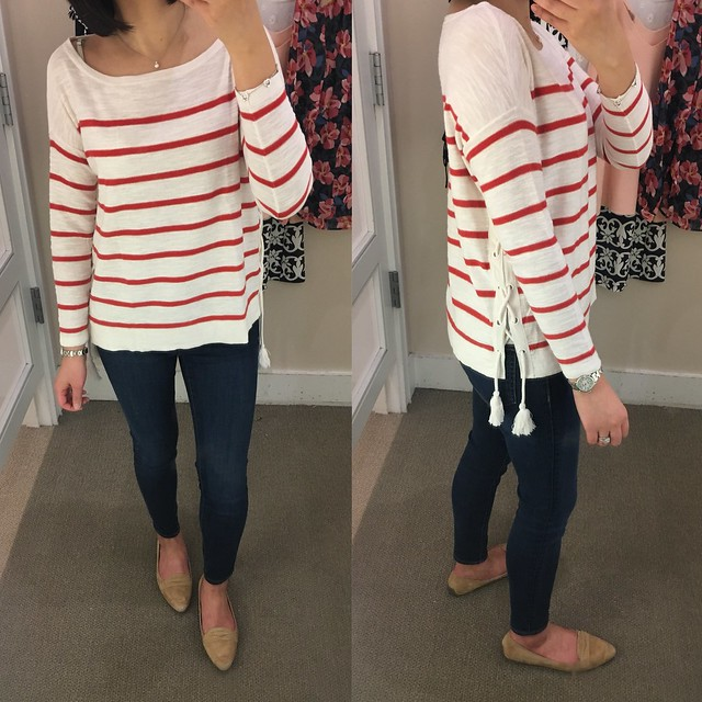 LOFT Striped Lace Up Side Sweater, size XS regular