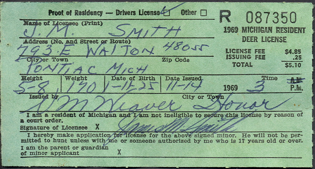 1969 michigan resident deer hunting license don the for Michigan non resident fishing license