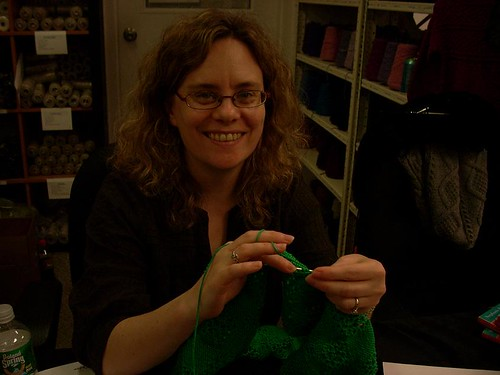Stephanie guest knitting | by Library Kat