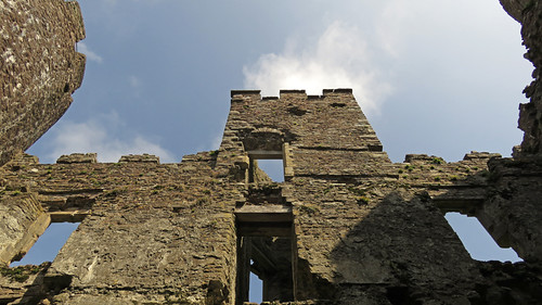 Laugharne Castle in Wales, looking up