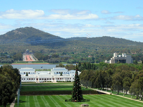 Federation Mall with Christmas Tree - Canberra, Australia ...