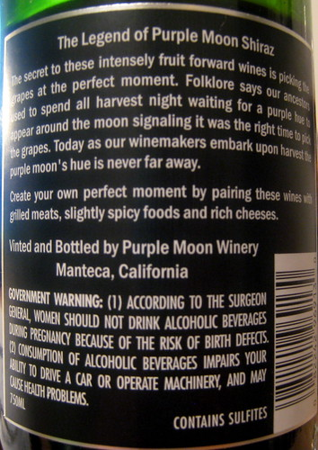 Purple Moon 2005 Shiraz (back) | by 2 Guys Uncorked
