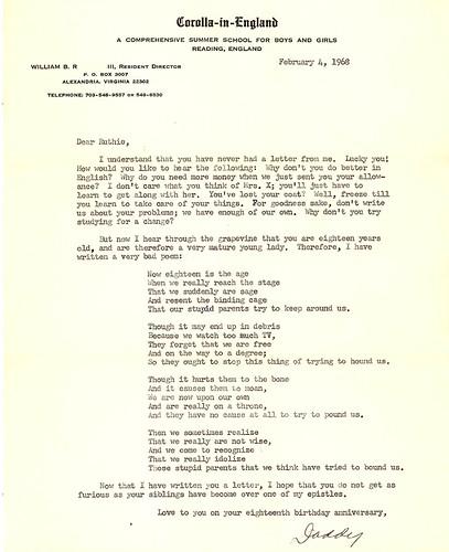 Ruthie's 18th Birthday Poem 1968