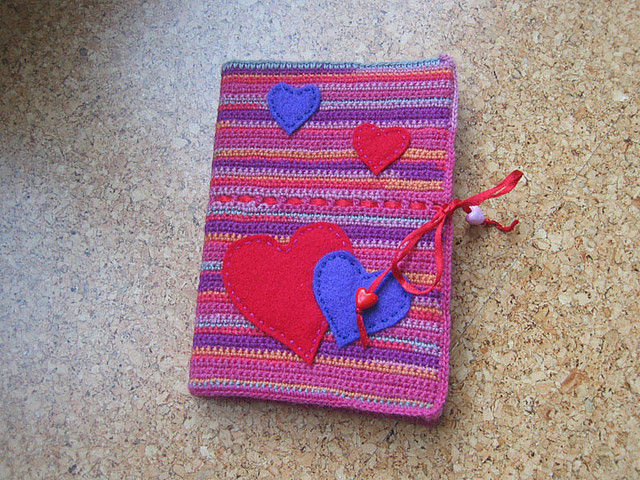 Book Cover Crochet Hats : Crochet book cover with felt hearts esmi flickr
