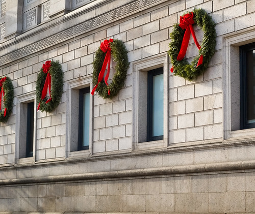 Wreaths on Public Library | by CarbonNYC [in SF!]