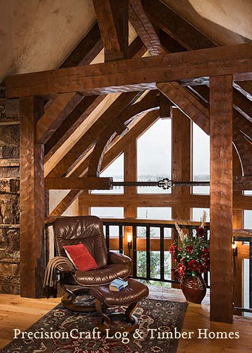 Loft with custom timber frame timber frame home by pre for Custom a frame homes
