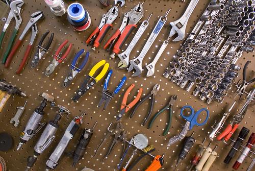 garage wall tool storage ideas - Tools on Pegboard bradjustinen