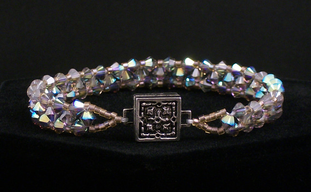 Right Angle Crystal : Right angle weave bracelet with swarovski crystals