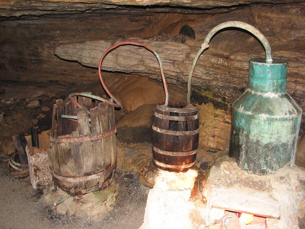 Moonshine still in Forbidden Caverns   Replica of ...