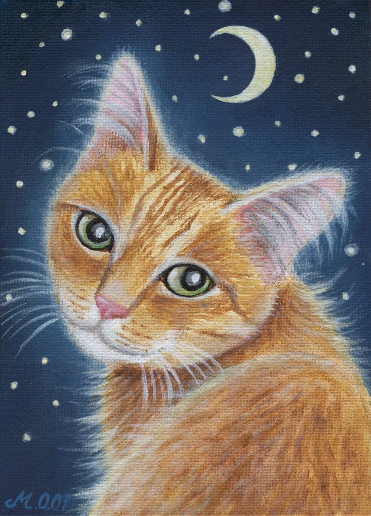 Orange tabby cat painting acrylic painting 5x7 canvas for Cat paintings on canvas