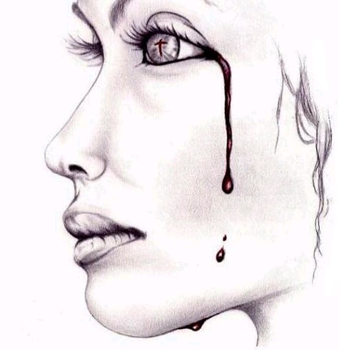 woman crying blood a drawing that i did for my sister artist