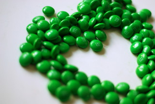 green m&m heart | by just maryse