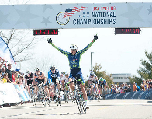 Kyle Knott as he crosses the finish line of the mens DII criterium | by marshillcycling