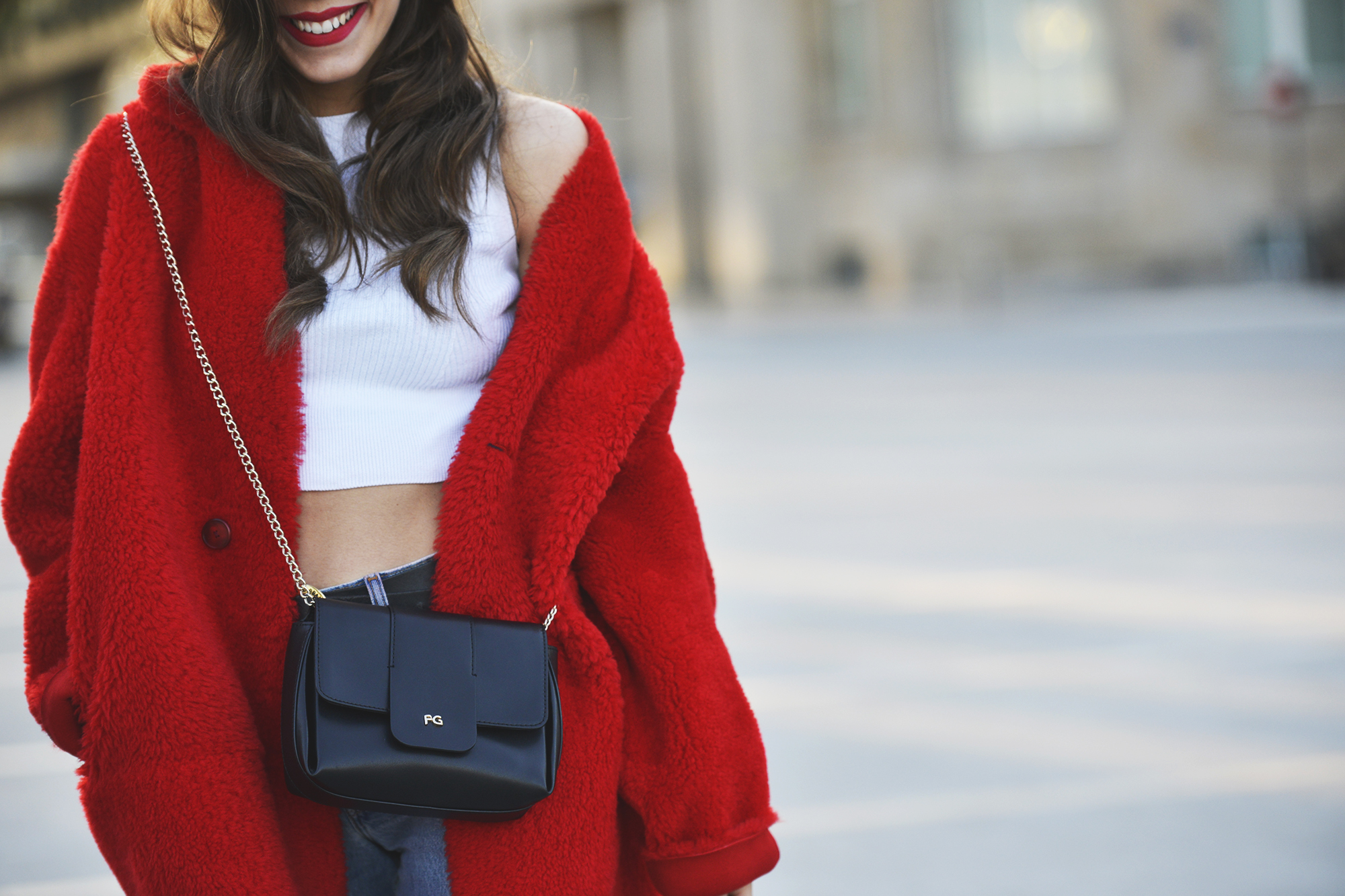Red fluffy coat
