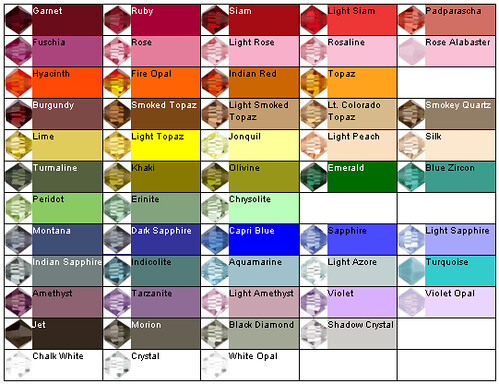 Colores de cristales swarovski cartilla de colores de for Cartilla de colores