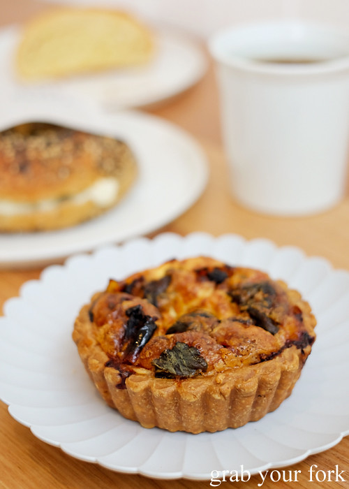 Quiche with sun dried tomato and goats cheese at Pigeon Whole Bakers in Hobart Tasmania