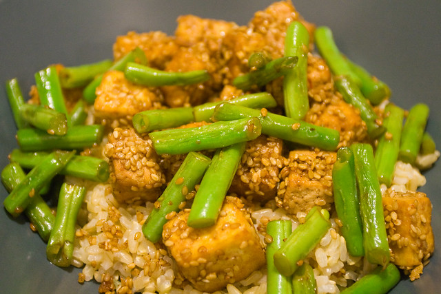 Crispy sesame tofu with green beans over brown rice | Flickr - Photo ...