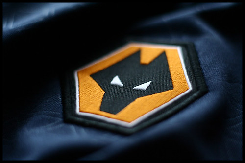 Wolves FC badge : A macro shot of the the Wolverhampton ...