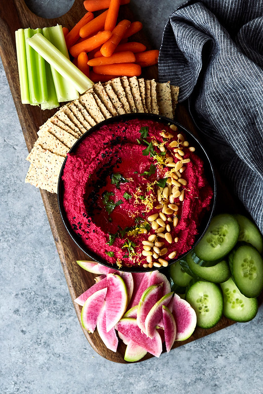 Roasted Beet and Cauliflower Hummus {Paleo}