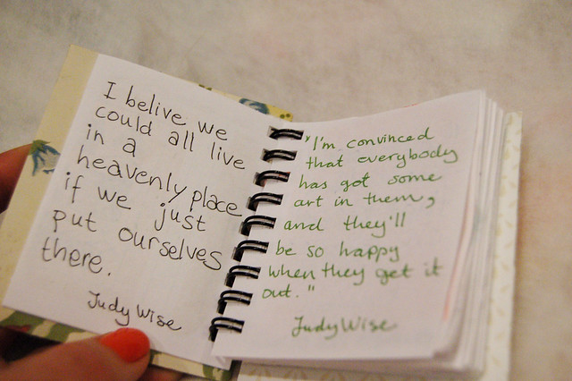 Spiral Notebook with Judy Wise quotes by iHanna