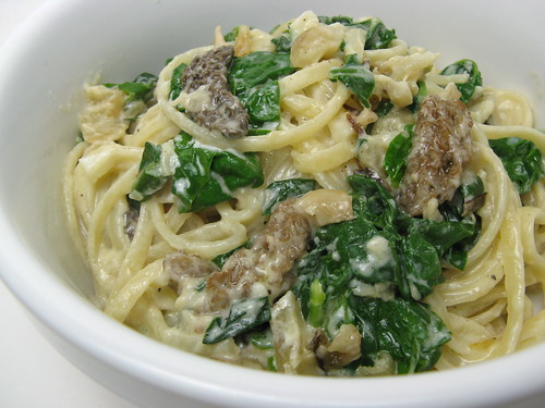 Fettuccine with Morels, Sunchokes, Ramps & Spinach | by katbaro