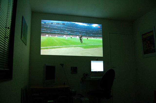 Watching Soccer In Bedroom Dlp Projector Jeremie P Flickr