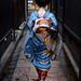 japan / blue / walking / japanese / girl / kimono / 日本