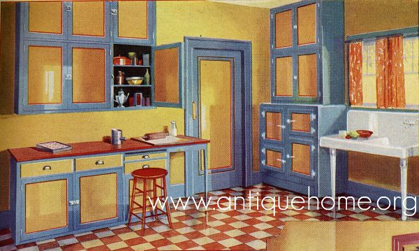 1930 Kitchen 1930s Kitchen Design Yellow Blue Red See t Flickr