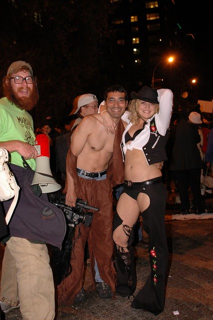 halloween parade 2007 sexy cowgirl and videotaping friend flickr