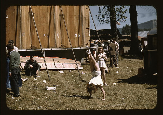 "At the Vermont state fair, Rutland, ""backstage"" at the ""girlie"" show (LOC)"