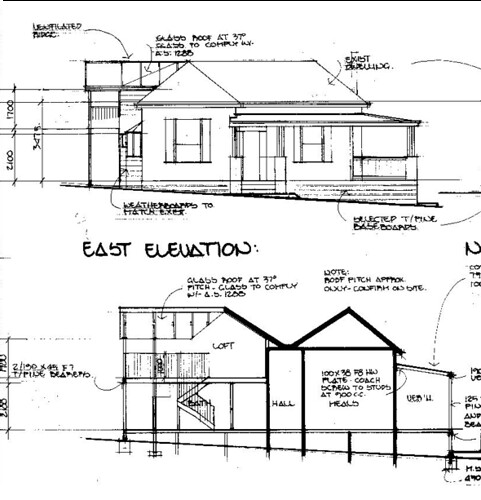 Front Elevation View Drawing : Front of cottage elevation drawing this is for the