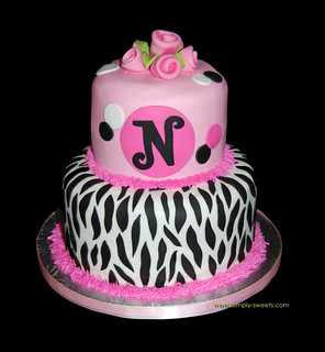 pink and black monogram zebra birthday cake | by Sweet Shoppe Mom and Simply Sweets