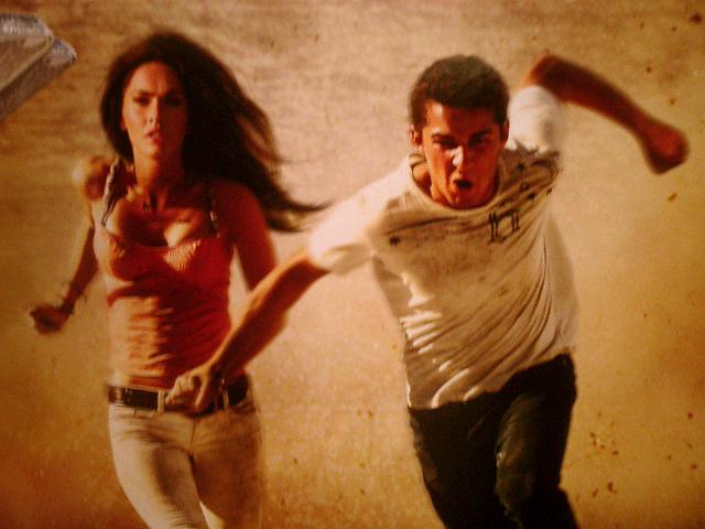 "Shia LaBeouf & Megan Fox go for a run | movie poster for ""Tr ..."