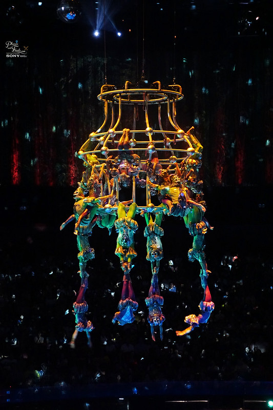 house of dancing water hanging human chandelier