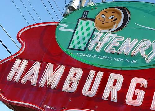 henry 39 s hamburg vintage neon sign close up benton harbo. Black Bedroom Furniture Sets. Home Design Ideas