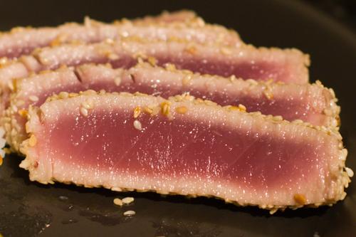Pan-seared sesame-crusted ahi tuna   Flickr - Photo Sharing!