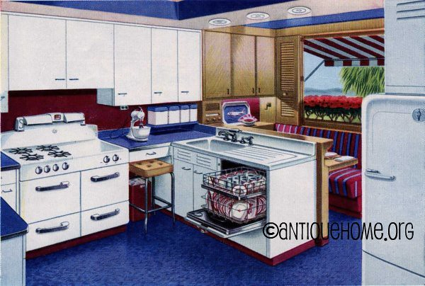 Mulberry Blue And Red Kitchen Design 1950 The Blue