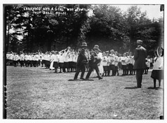 Carrying out a girl who fainted, pass ball relay  (LOC)