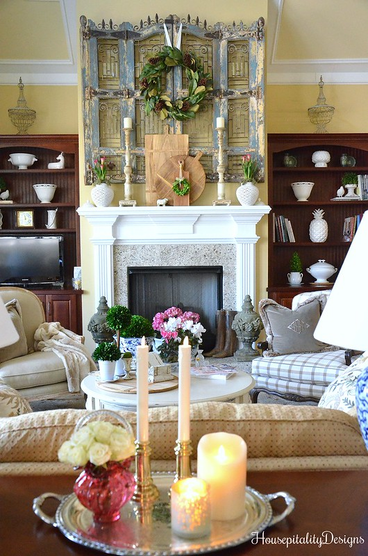 Great Room-Mantel-Antique Shutters-French Country-Housepitality Designs