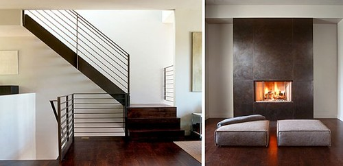Stairs and Fireplace | Love the openness of the staircase ...